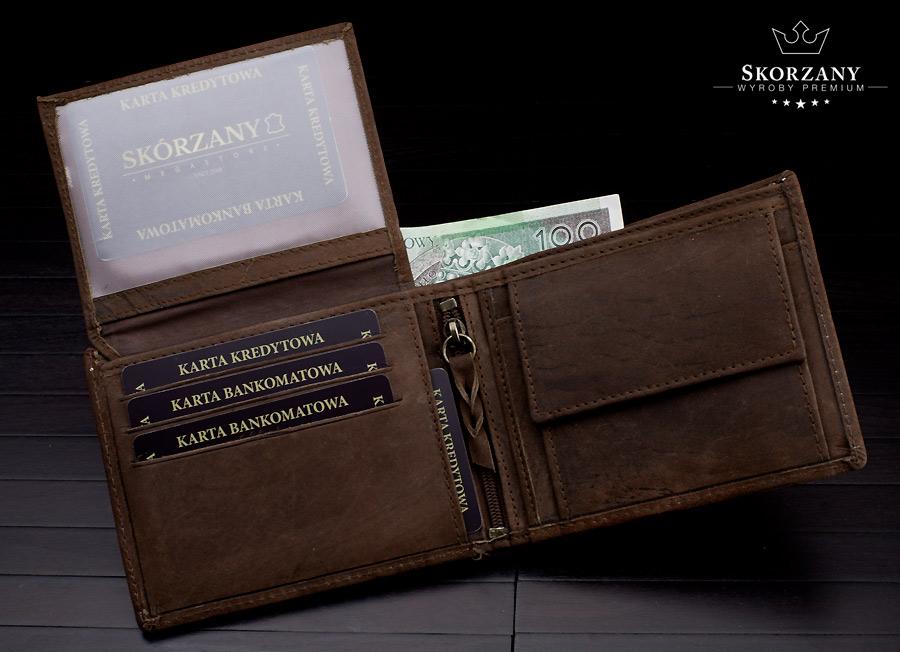 portfel z przegrodami na karty